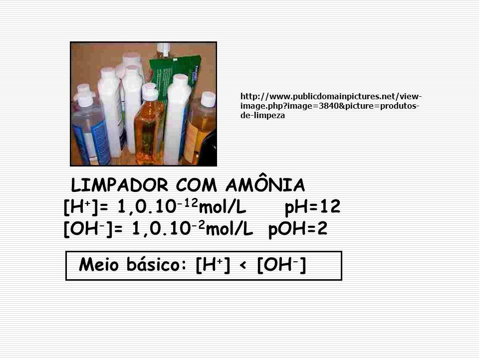 LIMPADOR COM AMÔNIA [H + ]= 1,0.10 -12 mol/L pH=12 [OH - ]= 1,0.10 -2 mol/L pOH=2 Meio básico: [H + ] < [OH - ] http://www.publicdomainpictures.net/vi