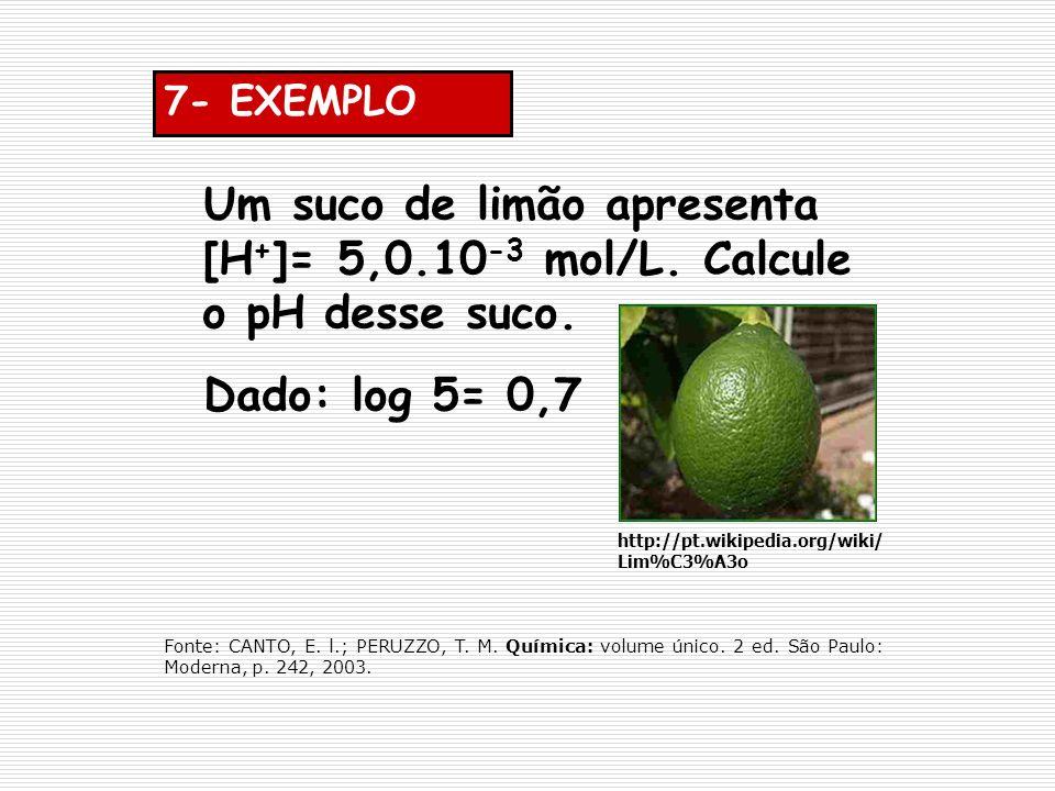 7- EXEMPLO Um suco de limão apresenta [H + ]= 5,0.10 -3 mol/L. Calcule o pH desse suco. Dado: log 5= 0,7 http://pt.wikipedia.org/wiki/ Lim%C3%A3o Font