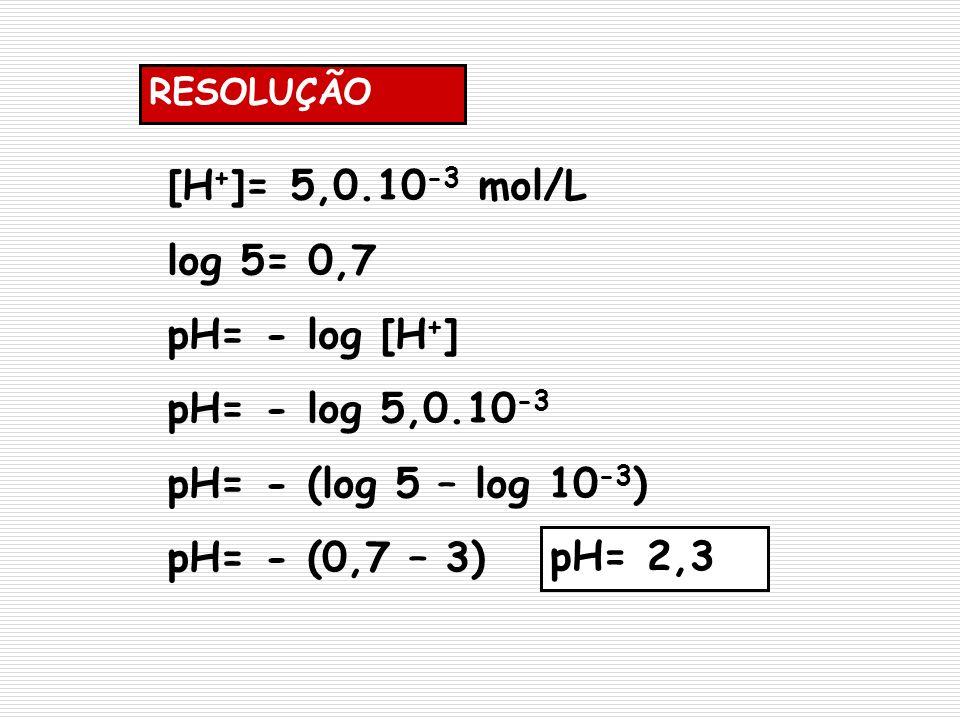 RESOLUÇÃO [H + ]= 5,0.10 -3 mol/L log 5= 0,7 pH= - log [H + ] pH= - log 5,0.10 -3 pH= - (log 5 – log 10 -3 ) pH= - (0,7 – 3) pH= 2,3