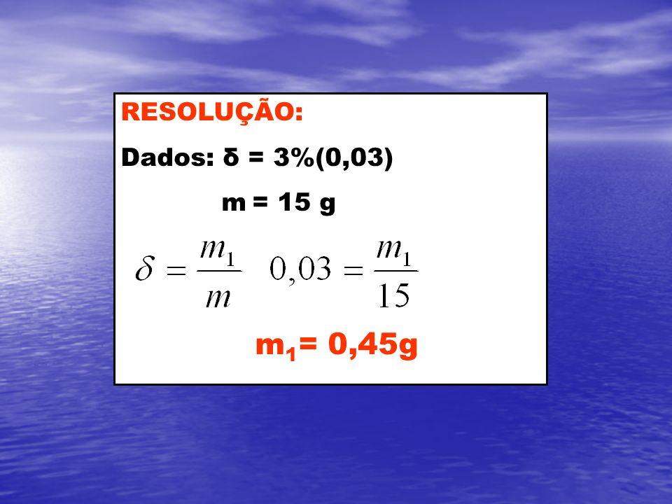 RESOLUÇÃO: Dados: δ = 3%(0,03) m = 15 g m 1 = 0,45g