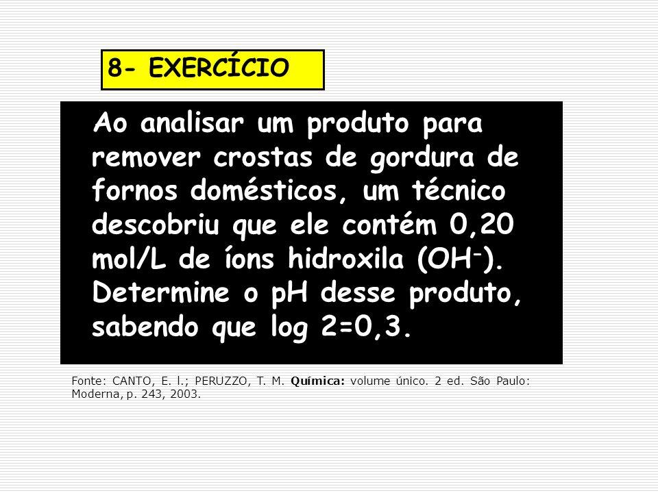 8- EXERCÍCIO Ao analisar um produto para remover crostas de gordura de fornos domésticos, um técnico descobriu que ele contém 0,20 mol/L de íons hidro