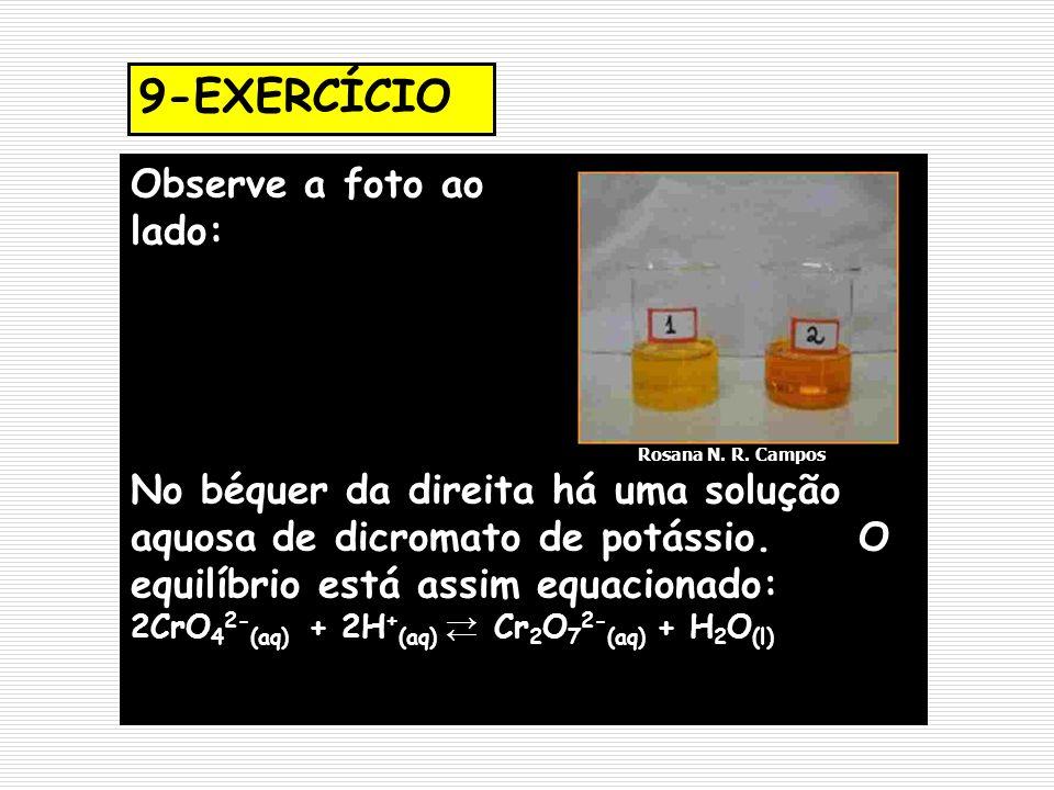 Observe a foto ao lado: Rosana N. R. Campos No béquer da direita há uma solução aquosa de dicromato de potássio. O equilíbrio está assim equacionado: