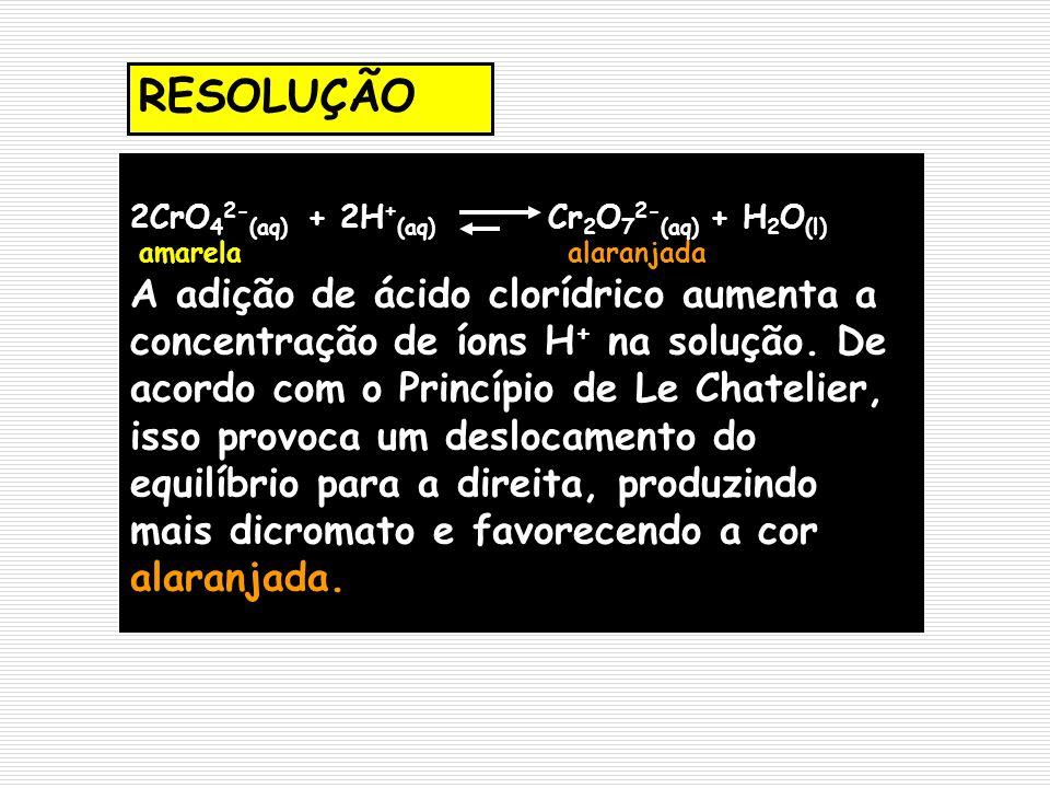 2CrO 4 2- (aq) + 2H + (aq) Cr 2 O 7 2- (aq) + H 2 O (l) amarela alaranjada A adição de ácido clorídrico aumenta a concentração de íons H + na solução.