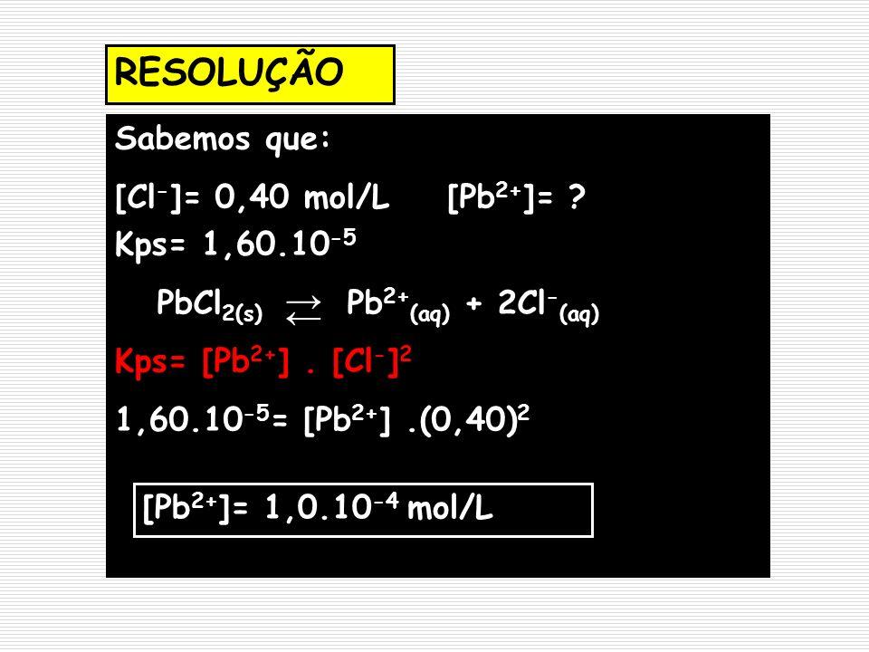 RESOLUÇÃO Sabemos que: [Cl - ]= 0,40 mol/L [Pb 2+ ]= ? Kps= 1,60.10 -5 PbCl 2(s) Pb 2+ (aq) + 2Cl - (aq) Kps= [Pb 2+ ]. [Cl - ] 2 1,60.10 -5 = [Pb 2+