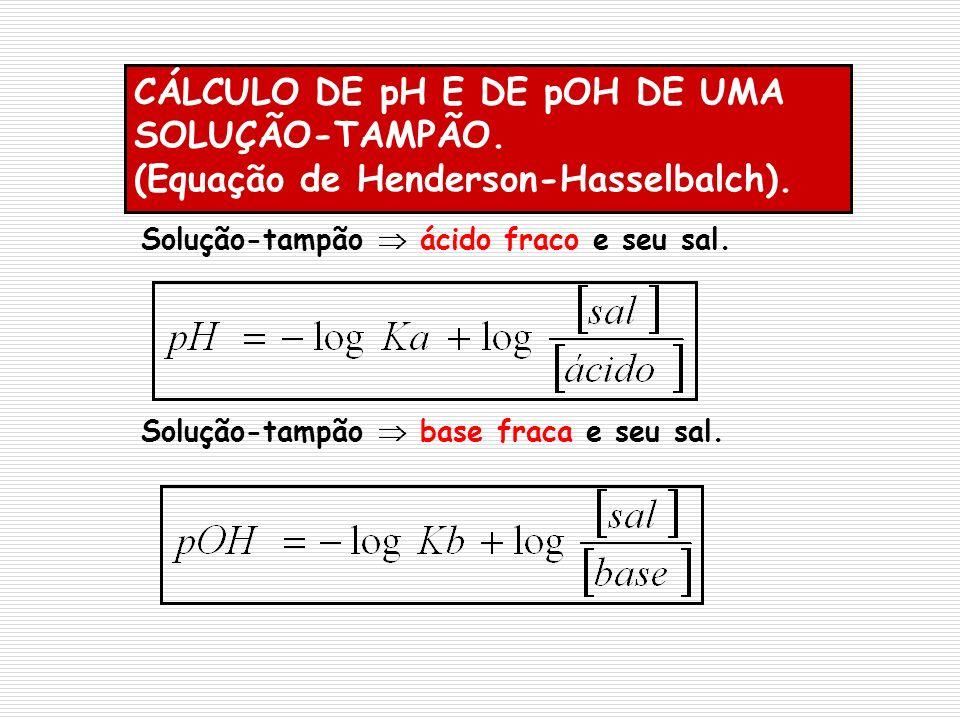 CÁLCULO DE pH E DE pOH DE UMA SOLUÇÃO-TAMPÃO. (Equação de Henderson-Hasselbalch). Solução-tampão ácido fraco e seu sal. Solução-tampão base fraca e se