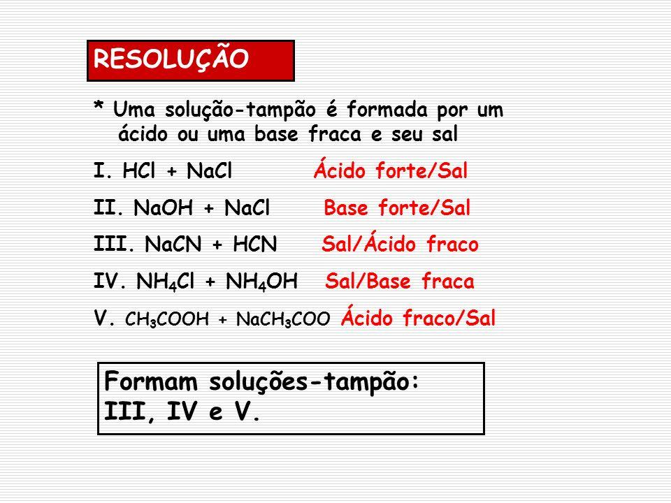* Uma solução-tampão é formada por um ácido ou uma base fraca e seu sal I. HCl + NaCl Ácido forte/Sal II. NaOH + NaCl Base forte/Sal III. NaCN + HCN S
