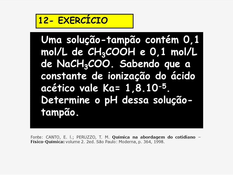 12- EXERCÍCIO Uma solução-tampão contém 0,1 mol/L de CH 3 COOH e 0,1 mol/L de NaCH 3 COO. Sabendo que a constante de ionização do ácido acético vale K