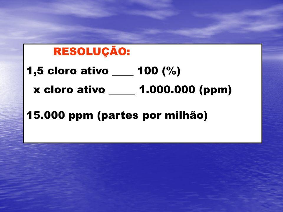 RESOLUÇÃO: 1,5 cloro ativo ____ 100 (%) x cloro ativo _____ 1.000.000 (ppm) 15.000 ppm (partes por milhão)