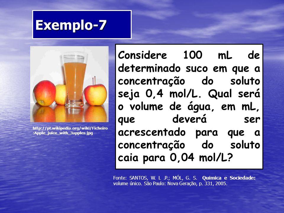 Exemplo-7 http://pt.wikipedia.org/wiki/Ficheiro :Apple_juice_with_3apples.jpg Considere 100 mL de determinado suco em que a concentração do soluto sej