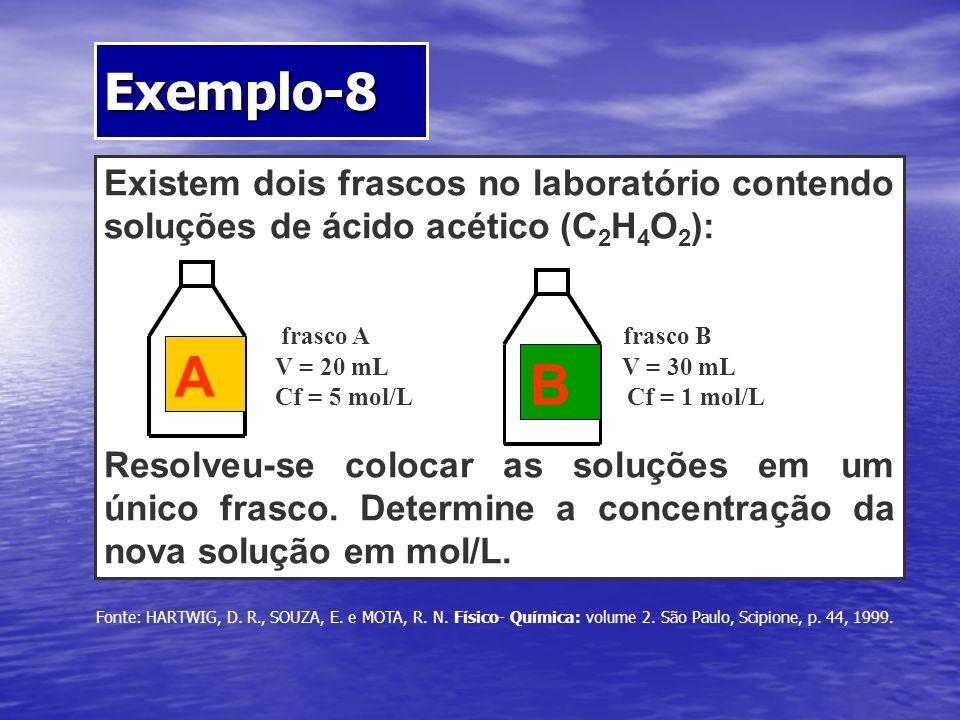 Existem dois frascos no laboratório contendo soluções de ácido acético (C 2 H 4 O 2 ): frasco A frasco B V = 20 mL V = 30 mL Cf = 5 mol/L Cf = 1 mol/L
