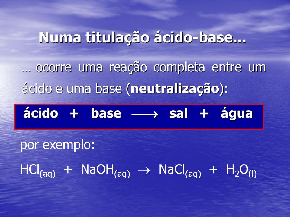 Numa titulação ácido-base...... ocorre uma reação completa entre um ácido e uma base (neutralização): ácido + base sal + água por exemplo: HCl (aq) +