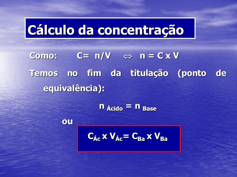 Como: C= n/V n = C x V Temos no fim da titulação (ponto de equivalência): n Ácido = n Base ou ou C Ác x V Ác = C Ba x V Ba Cálculo da concentração