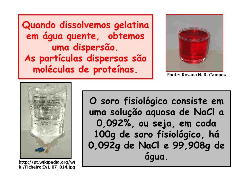 O soro fisiológico consiste em uma solução aquosa de NaCl a 0,092%, ou seja, em cada 100g de soro fisiológico, há 0,092g de NaCl e 99,908g de água. Qu