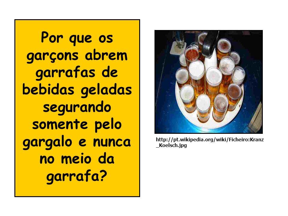 Por que os garçons abrem garrafas de bebidas geladas segurando somente pelo gargalo e nunca no meio da garrafa? http://pt.wikipedia.org/wiki/Ficheiro: