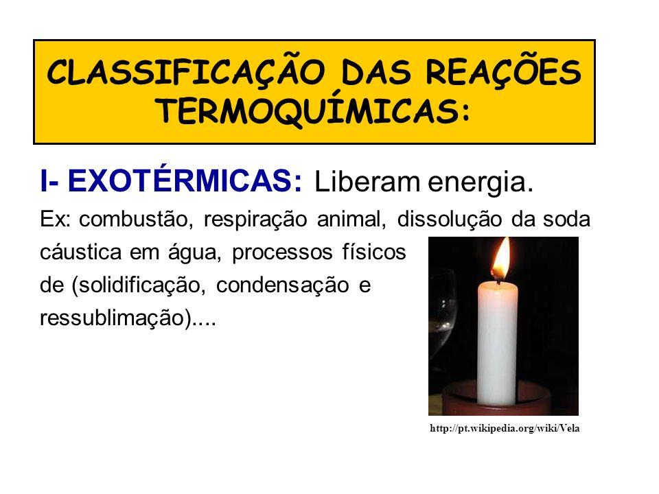 CLASSIFICAÇÃO DAS REAÇÕES TERMOQUÍMICAS: I- EXOTÉRMICAS: Liberam energia. Ex: combustão, respiração animal, dissolução da soda cáustica em água, proce