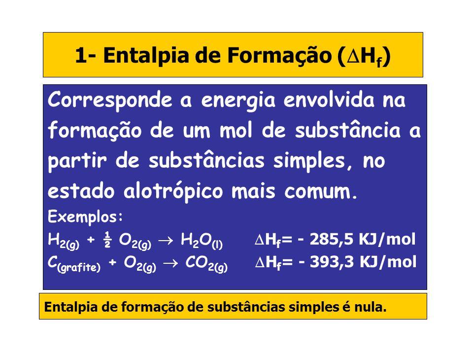 1- Entalpia de Formação ( H f ) Corresponde a energia envolvida na formação de um mol de substância a partir de substâncias simples, no estado alotróp