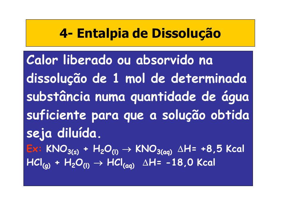 4- Entalpia de Dissolução Calor liberado ou absorvido na dissolução de 1 mol de determinada substância numa quantidade de água suficiente para que a s