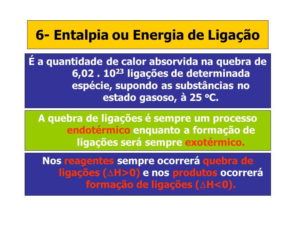 6- Entalpia ou Energia de Ligação É a quantidade de calor absorvida na quebra de 6,02. 10 23 ligações de determinada espécie, supondo as substâncias n