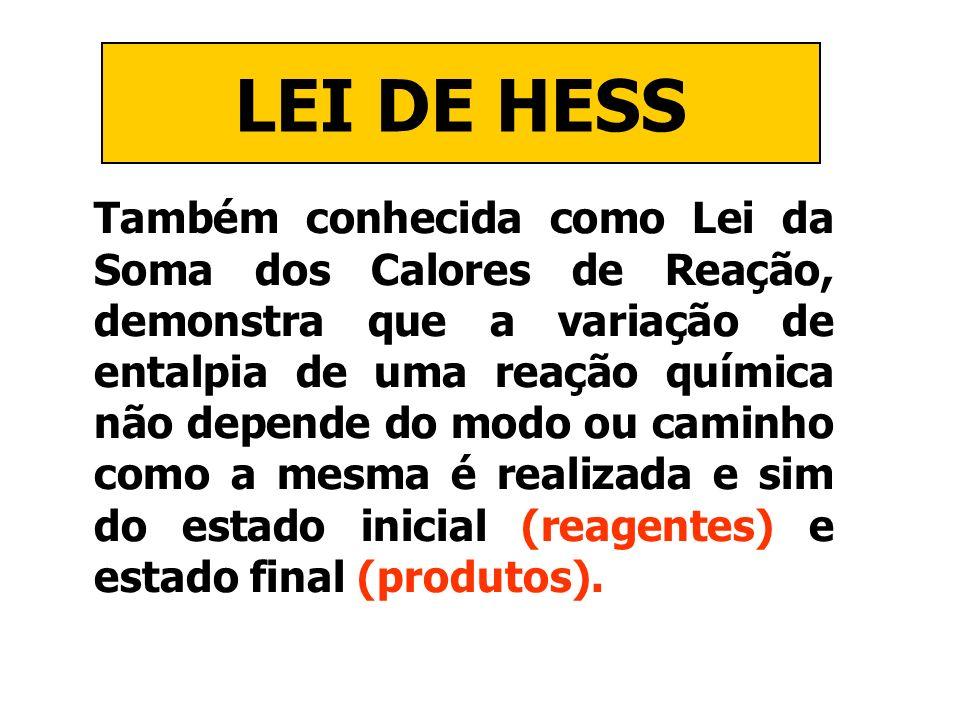 LEI DE HESS Também conhecida como Lei da Soma dos Calores de Reação, demonstra que a variação de entalpia de uma reação química não depende do modo ou
