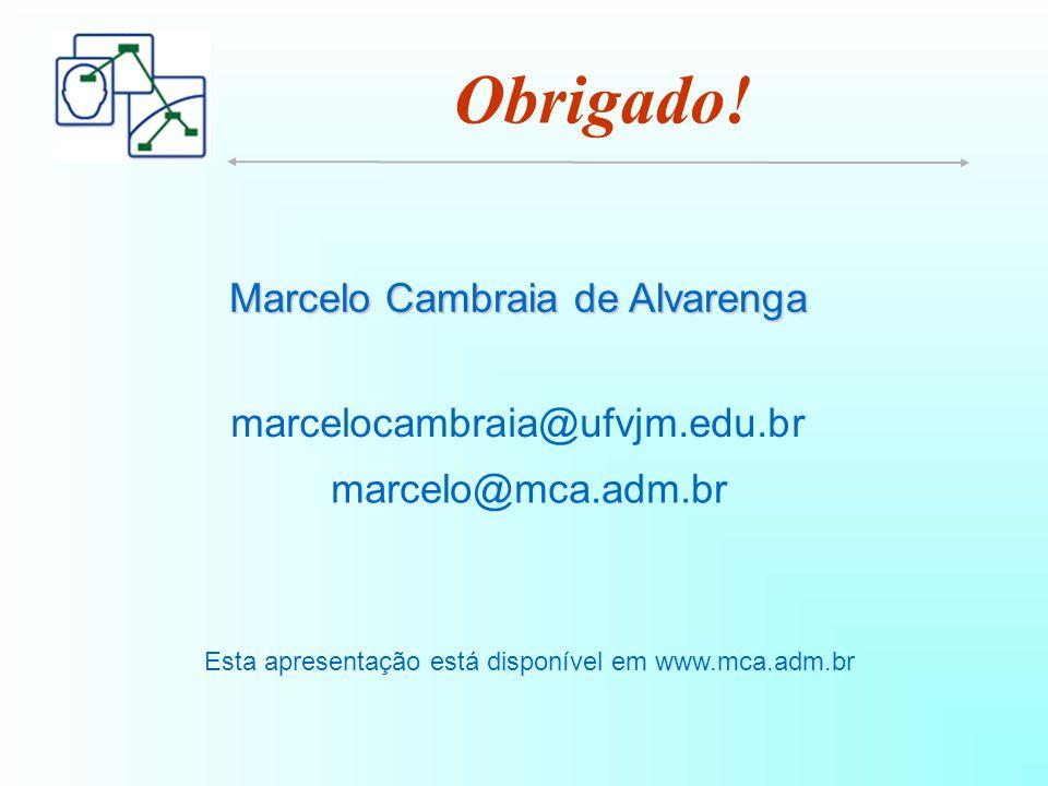 Marcelo Cambraia de Alvarenga marcelocambraia@ufvjm.edu.br marcelo@mca.adm.br Esta apresentação está disponível em www.mca.adm.br Obrigado!