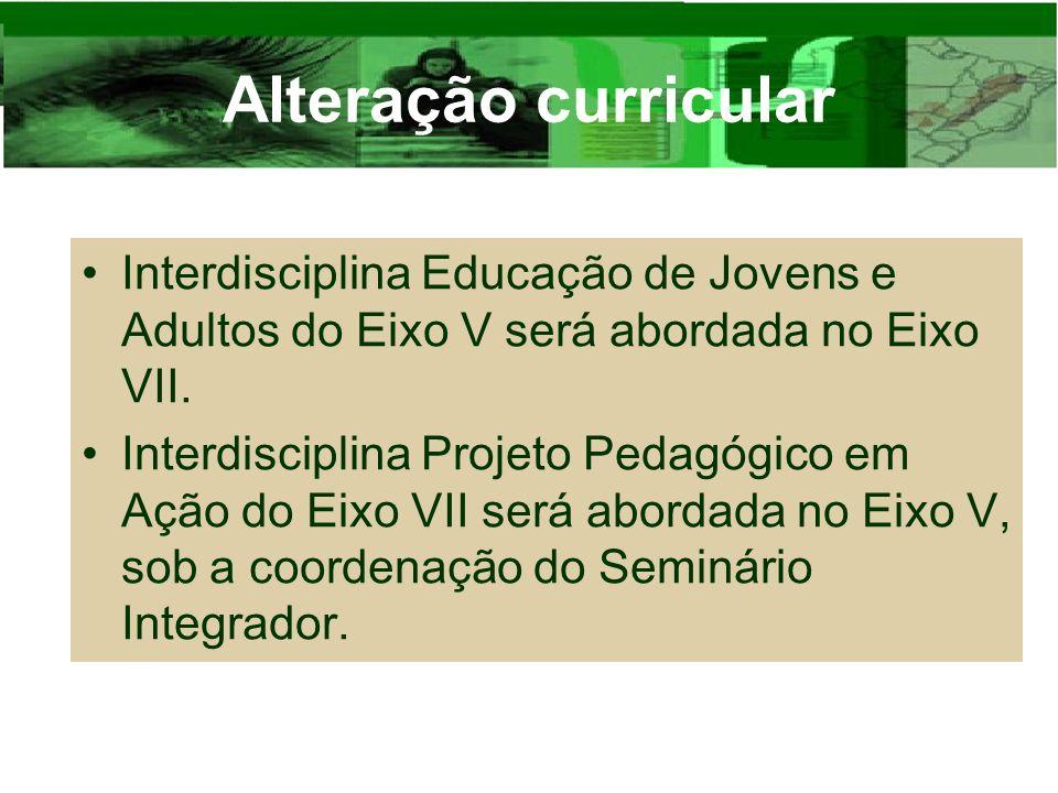 Alteração curricular Interdisciplina Educação de Jovens e Adultos do Eixo V será abordada no Eixo VII. Interdisciplina Projeto Pedagógico em Ação do E