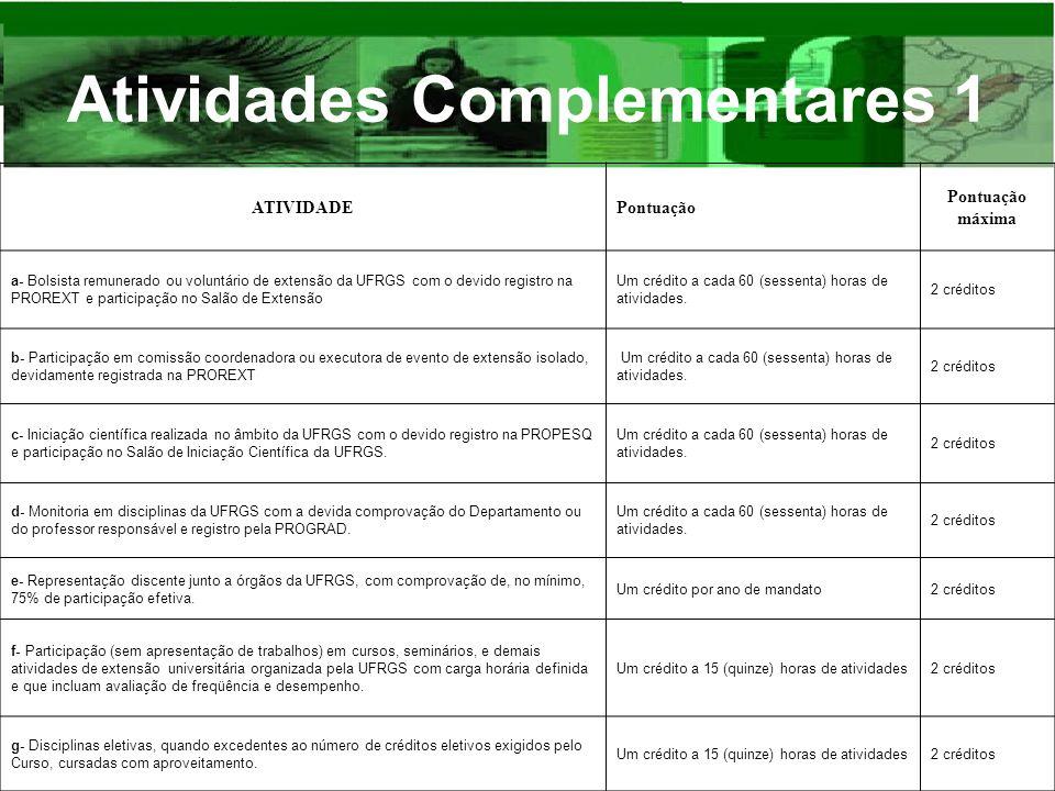 Atividades Complementares 1 ATIVIDADEPontuação máxima a- Bolsista remunerado ou voluntário de extensão da UFRGS com o devido registro na PROREXT e par