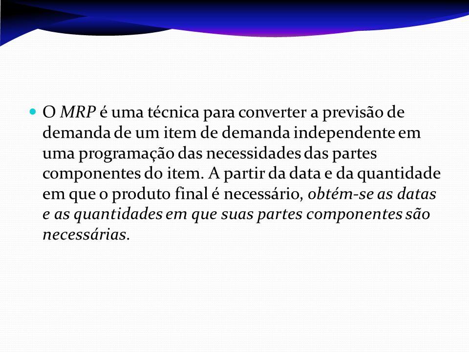 O MRP é uma técnica para converter a previsão de demanda de um item de demanda independente em uma programação das necessidades das partes componentes