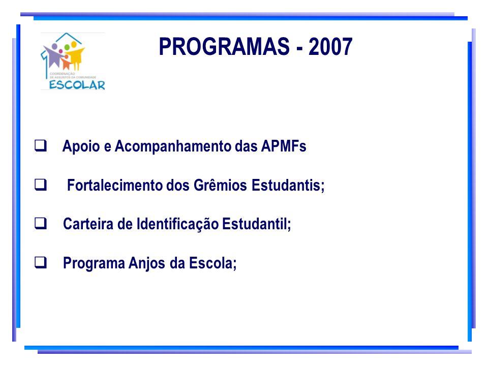 PROGRAMAS - 2007 Apoio e Acompanhamento das APMFs Fortalecimento dos Grêmios Estudantis; Carteira de Identificação Estudantil; Programa Anjos da Escol