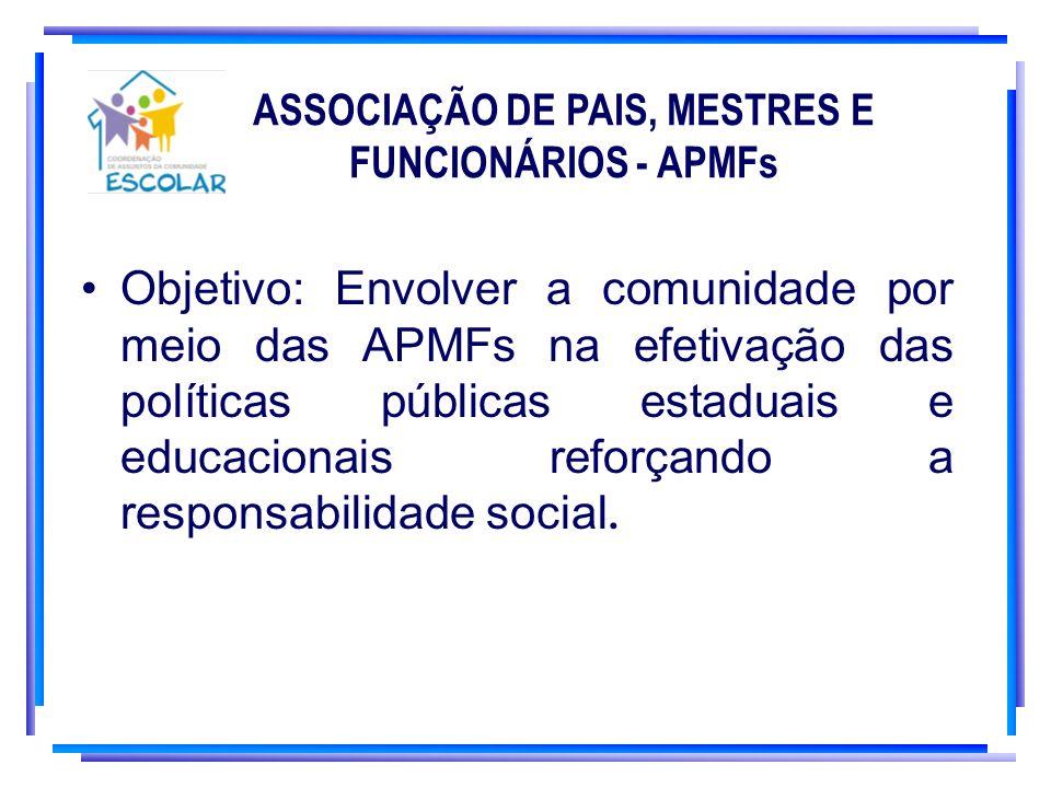 ASSOCIAÇÃO DE PAIS, MESTRES E FUNCIONÁRIOS - APMFs Objetivo: Envolver a comunidade por meio das APMFs na efetivação das políticas públicas estaduais e