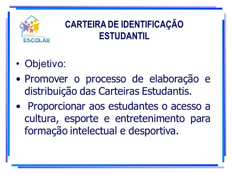 CARTEIRA DE IDENTIFICAÇÃO ESTUDANTIL Objetivo: Promover o processo de elaboração e distribuição das Carteiras Estudantis. Proporcionar aos estudantes