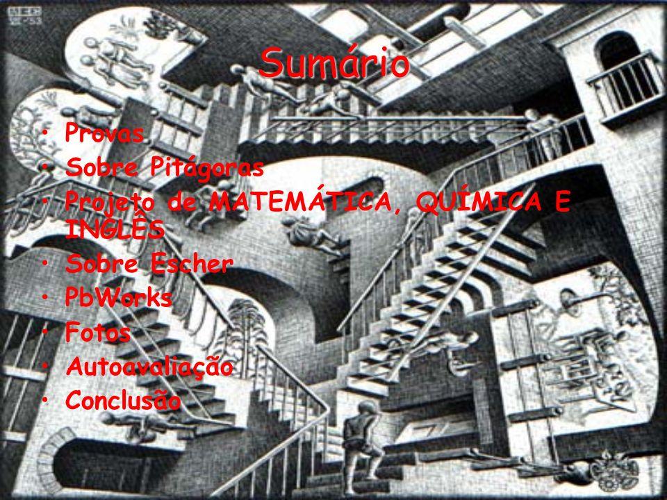 Sumário Provas Sobre Pitágoras Projeto de MATEMÁTICA, QUÍMICA E INGLÊS Sobre Escher PbWorks Fotos Autoavaliação Conclusão