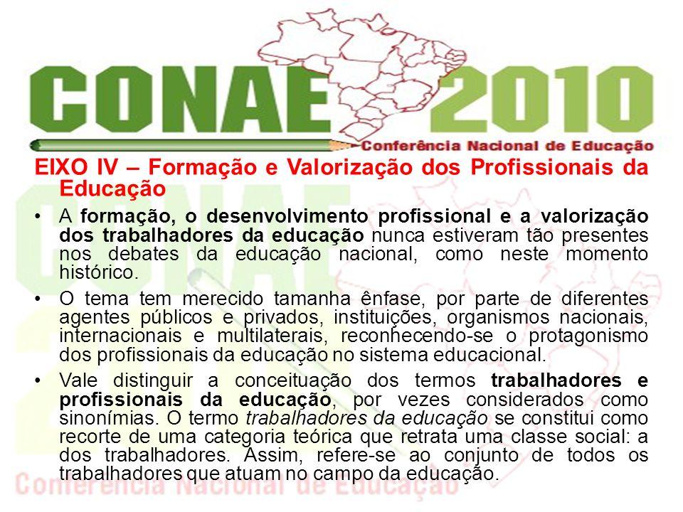 EIXO IV – Formação e Valorização dos Profissionais da Educação A formação, o desenvolvimento profissional e a valorização dos trabalhadores da educaçã