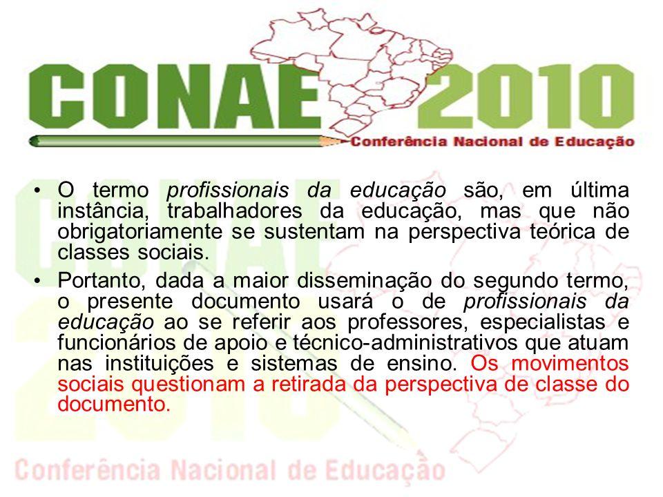 O termo profissionais da educação são, em última instância, trabalhadores da educação, mas que não obrigatoriamente se sustentam na perspectiva teóric