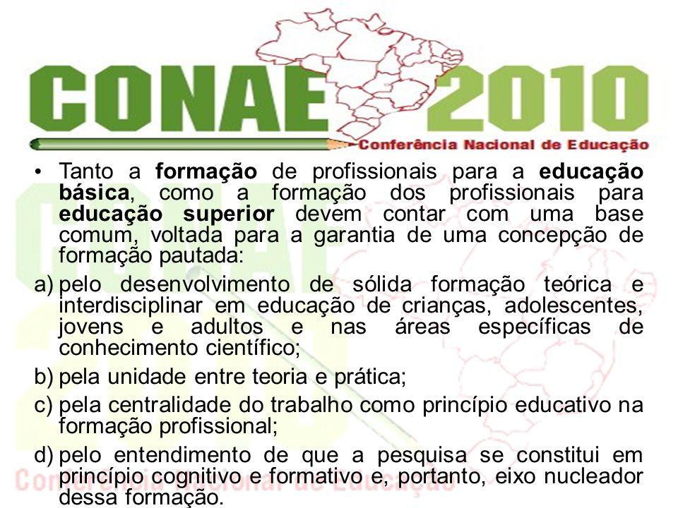 Tanto a formação de profissionais para a educação básica, como a formação dos profissionais para educação superior devem contar com uma base comum, vo