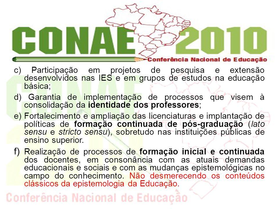 c) Participação em projetos de pesquisa e extensão desenvolvidos nas IES e em grupos de estudos na educação básica; d) Garantia de implementação de pr