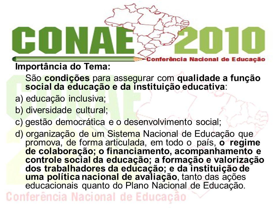 Importância do Tema: São condições para assegurar com qualidade a função social da educação e da instituição educativa: a) educação inclusiva; b) dive