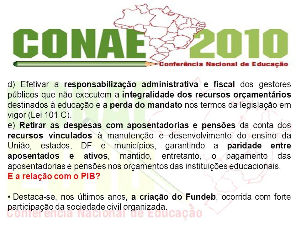 d) Efetivar a responsabilização administrativa e fiscal dos gestores públicos que não executem a integralidade dos recursos orçamentários destinados à