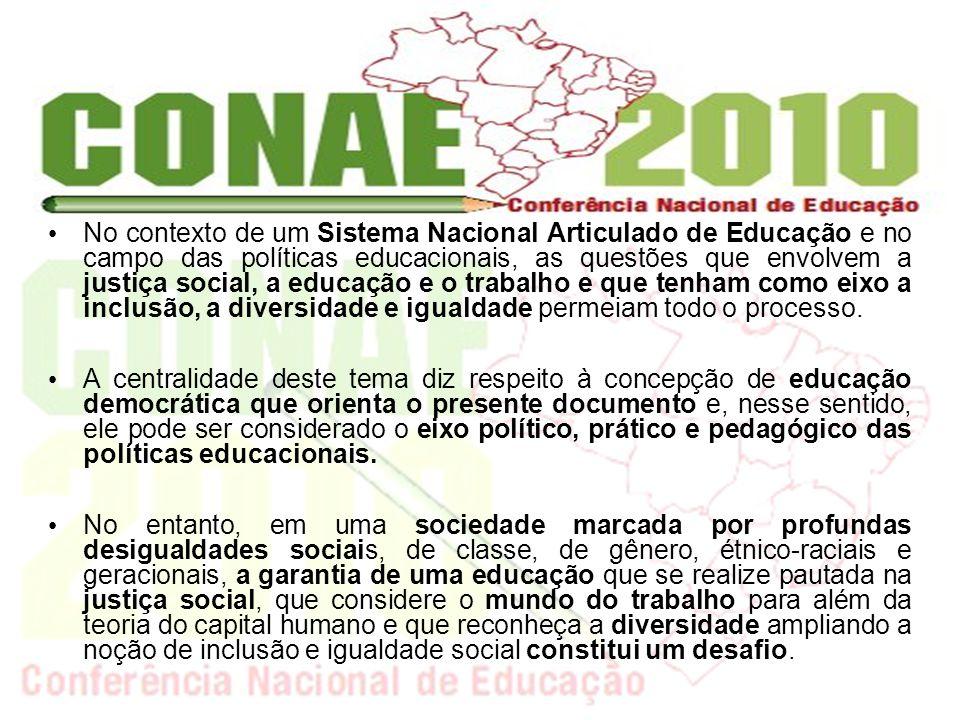 No contexto de um Sistema Nacional Articulado de Educação e no campo das políticas educacionais, as questões que envolvem a justiça social, a educação