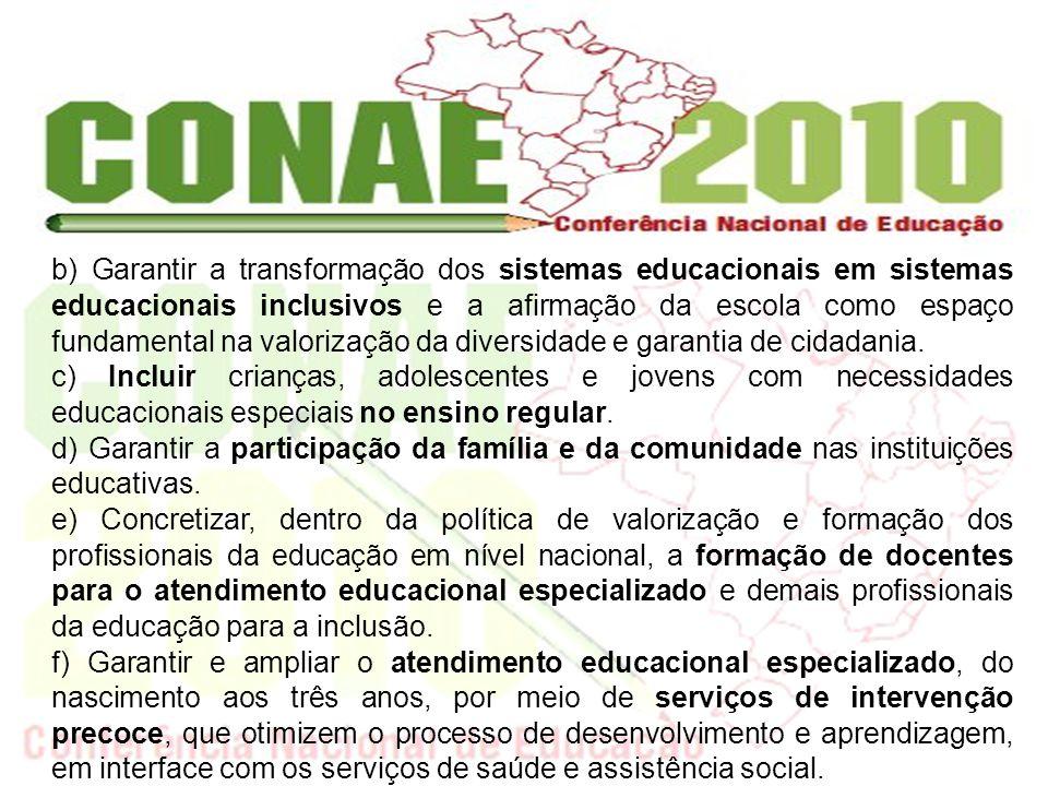 garantir que tais políticas: b) Garantir a transformação dos sistemas educacionais em sistemas educacionais inclusivos e a afirmação da escola como es