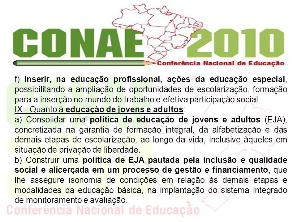 f) Inserir, na educação profissional, ações da educação especial, possibilitando a ampliação de oportunidades de escolarização, formação para a inserç