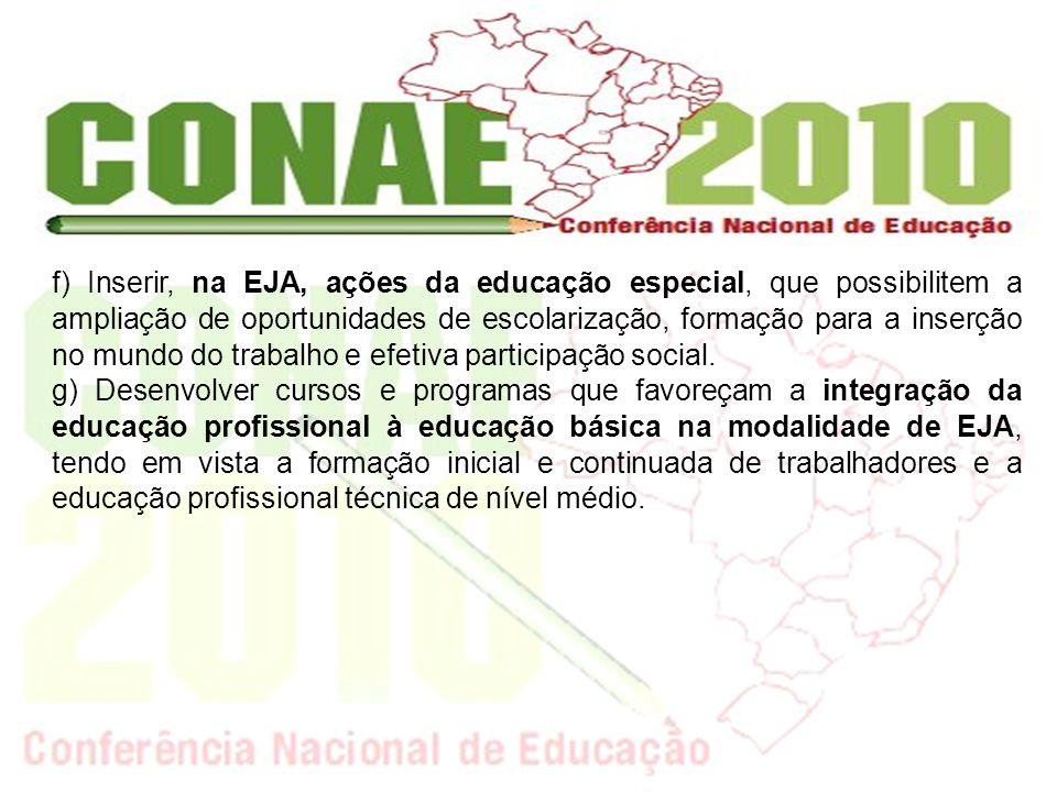 f) Inserir, na EJA, ações da educação especial, que possibilitem a ampliação de oportunidades de escolarização, formação para a inserção no mundo do t