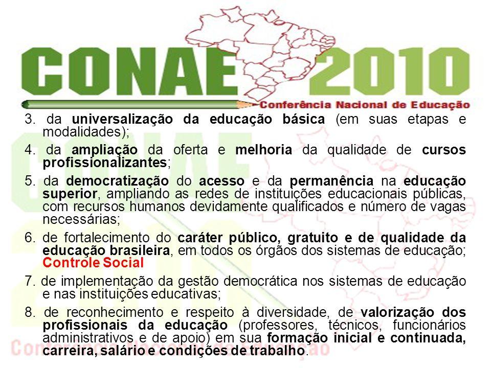 3. da universalização da educação básica (em suas etapas e modalidades); 4. da ampliação da oferta e melhoria da qualidade de cursos profissionalizant