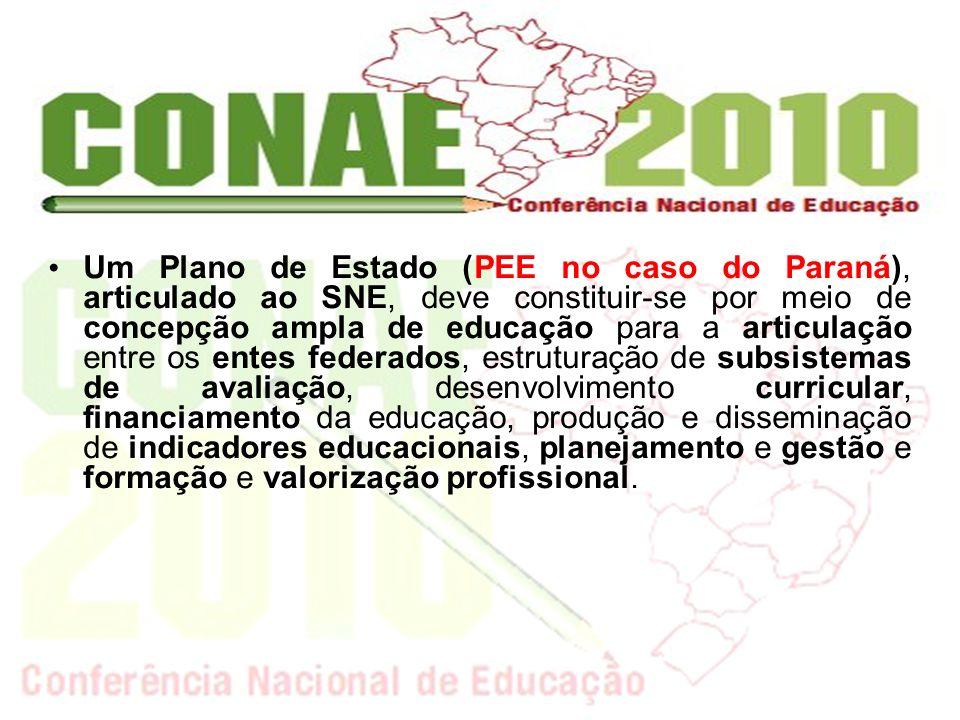 Um Plano de Estado (PEE no caso do Paraná), articulado ao SNE, deve constituir-se por meio de concepção ampla de educação para a articulação entre os