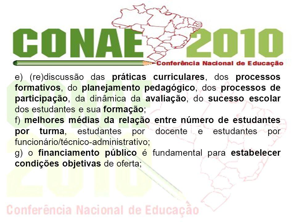 e) (re)discussão das práticas curriculares, dos processos formativos, do planejamento pedagógico, dos processos de participação, da dinâmica da avalia