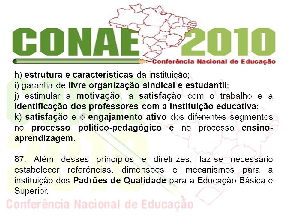 h) estrutura e características da instituição; i) garantia de livre organização sindical e estudantil; j) estimular a motivação, a satisfação com o tr