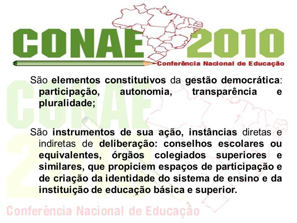 São elementos constitutivos da gestão democrática: participação, autonomia, transparência e pluralidade; São instrumentos de sua ação, instâncias dire