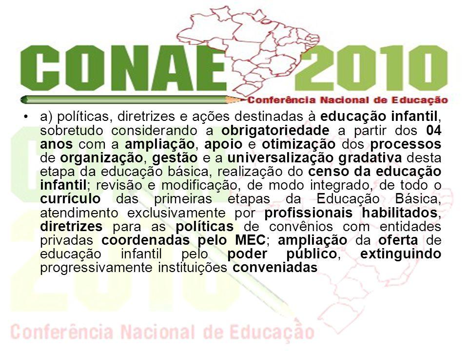 a) políticas, diretrizes e ações destinadas à educação infantil, sobretudo considerando a obrigatoriedade a partir dos 04 anos com a ampliação, apoio