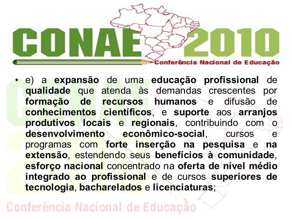 e) a expansão de uma educação profissional de qualidade que atenda às demandas crescentes por formação de recursos humanos e difusão de conhecimentos