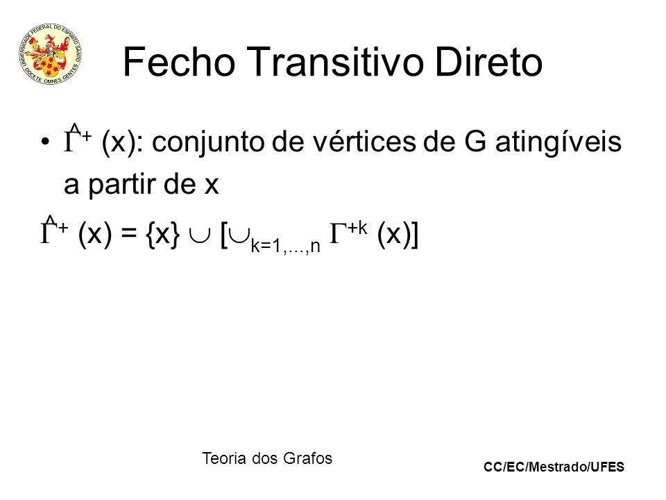 CC/EC/Mestrado/UFES Teoria dos Grafos Fecho Transitivo Direto + (x): conjunto de vértices de G atingíveis a partir de x + (x) = {x} [ k=1,...,n +k (x)