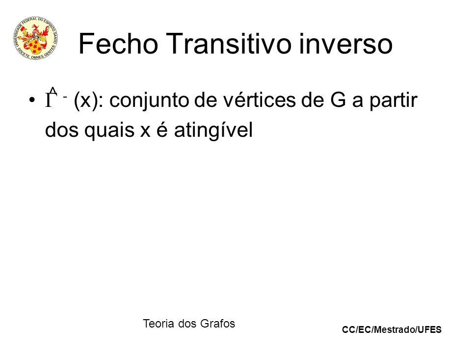 CC/EC/Mestrado/UFES Teoria dos Grafos Fecho Transitivo inverso - (x): conjunto de vértices de G a partir dos quais x é atingível ^
